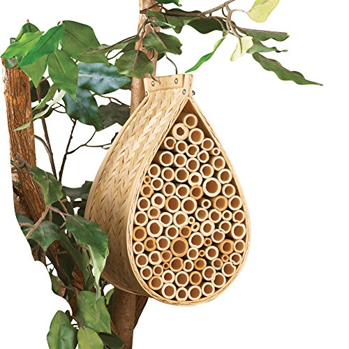 Collections Etc Hanging Bamboo Mason Bee Hive House, (Bee Bath)