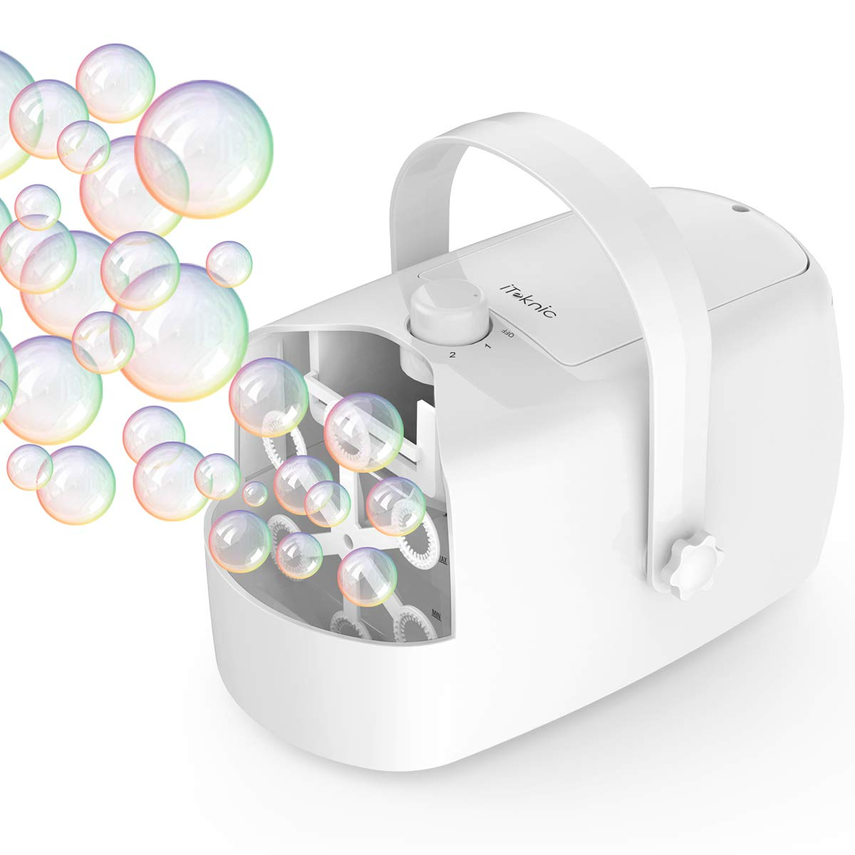 Bubble Machine, iTeknic Automatic Bubble Blower, Portable Auto Bubble Maker with High Output for Outdoor/Indoor Use,Powered by Plug-in or Batteries , Bubble Toys and Gifts for Kids Girls Boys (White)