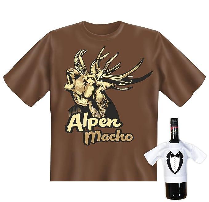 sabuy T-Shirt - Röhrender Hirsch - Alpen Macho - lustiges Sprüche Shirt für Trachten  Fans mit Humor - Geschenk Set mit Funshirt und Minishirt: Amazon.de: ...