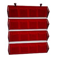 Trinity 16 Earrings Organizer Velvet Folding Box (Red)