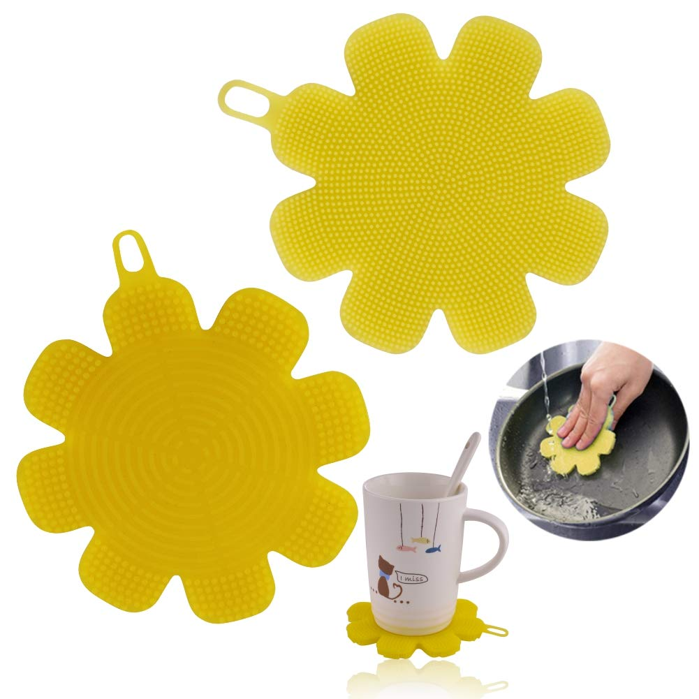 M MOACC Silicone Dish Sponge Washing Brush Scrubber 2 Pack Yellow