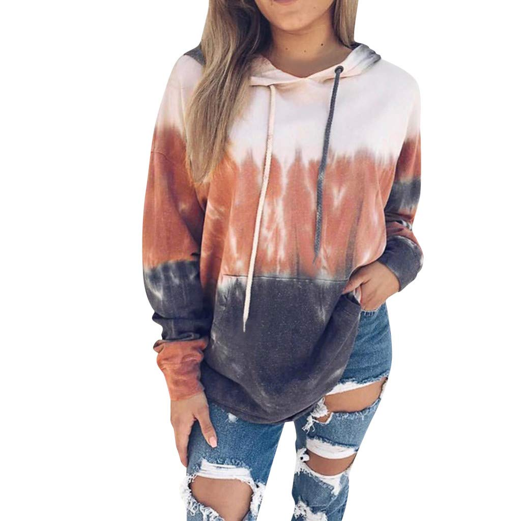 Women's Gradient Color Sweatshirts Soft Loose Drawstring Pullover Hoodie Blouses Tops (Brown,L) by BNisBM