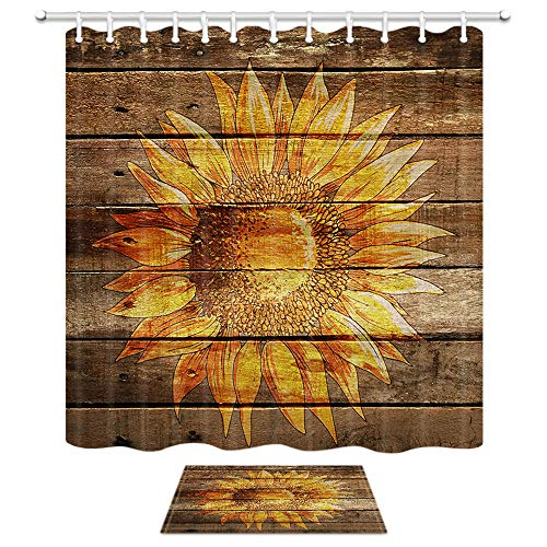 Country Plank Shower Curtain Bath Rug Set, Sunflower Flowers On Rustic Barn Wood Door Board, 69X70in Fabric Bathroom Curtains with 15.7x23.6in Flannel Non-Slip Floor Doormat Rugs