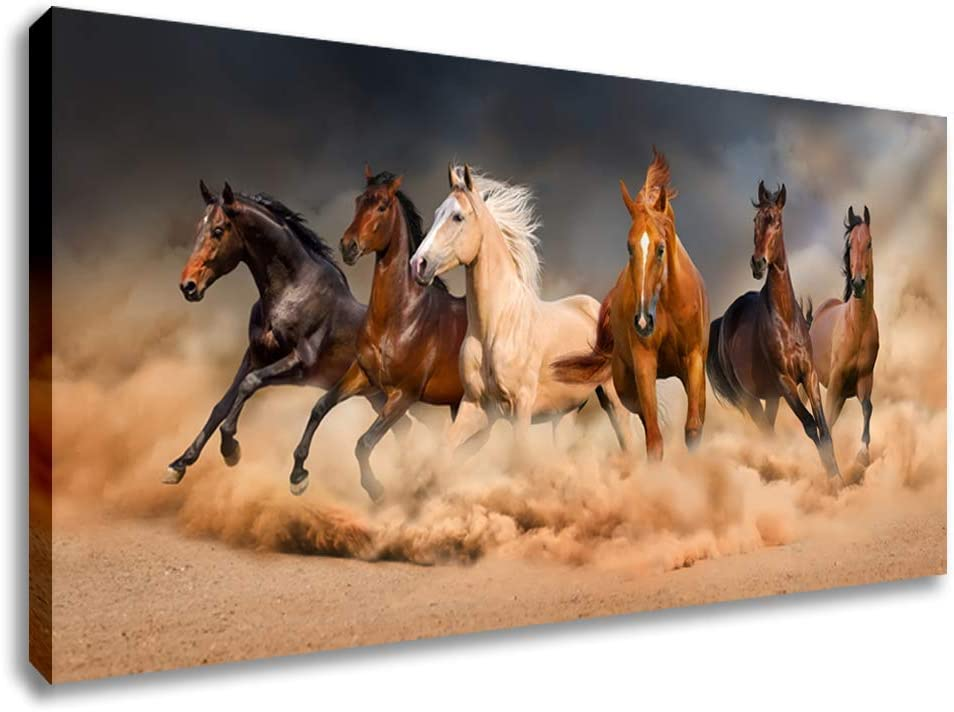 RUNNING GALLOPING WHITE HORSE PAITNING STYLE CANVAS PRINT WALL ART PICTURE
