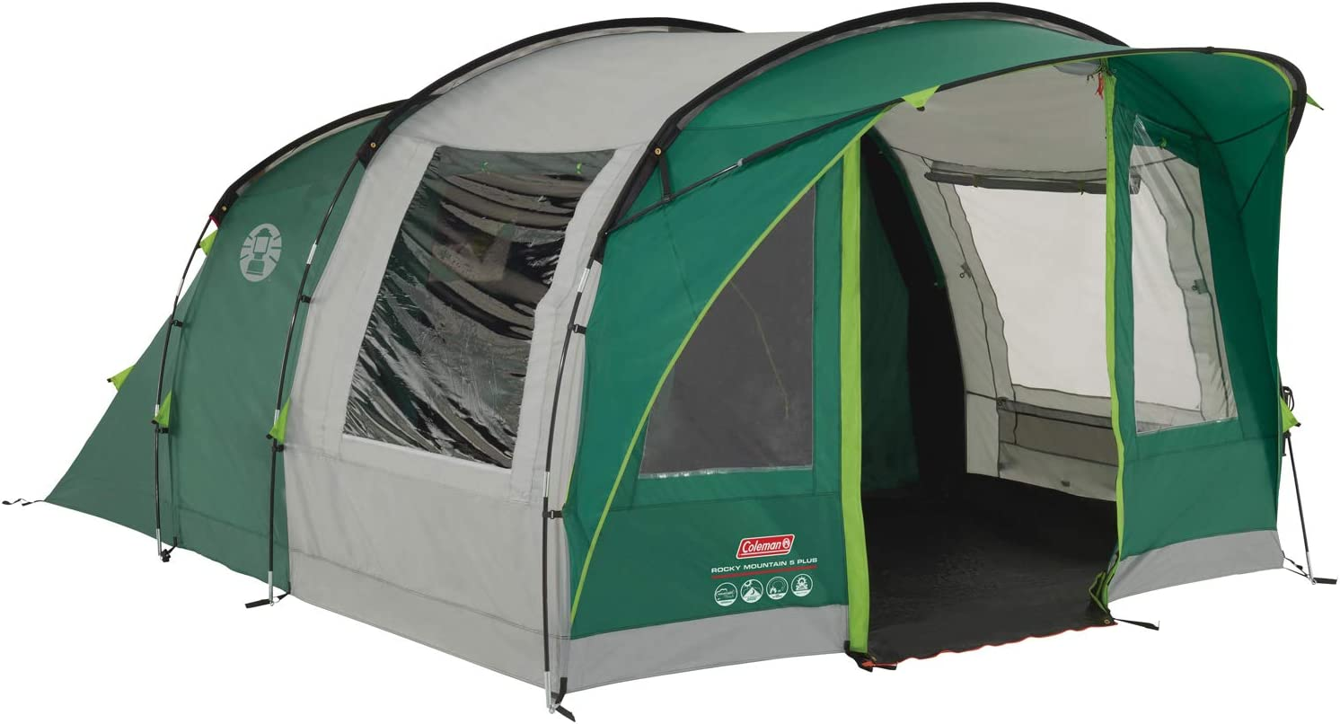 Amazon Com Coleman Rocky Mountain 5 Plus Family Tent 5 Man Tent Blocks Up To 99 Percent Of Daylight 2 Bedroom Family Tent 100 Percent Waterproof Camping Tent For 5 Person Also