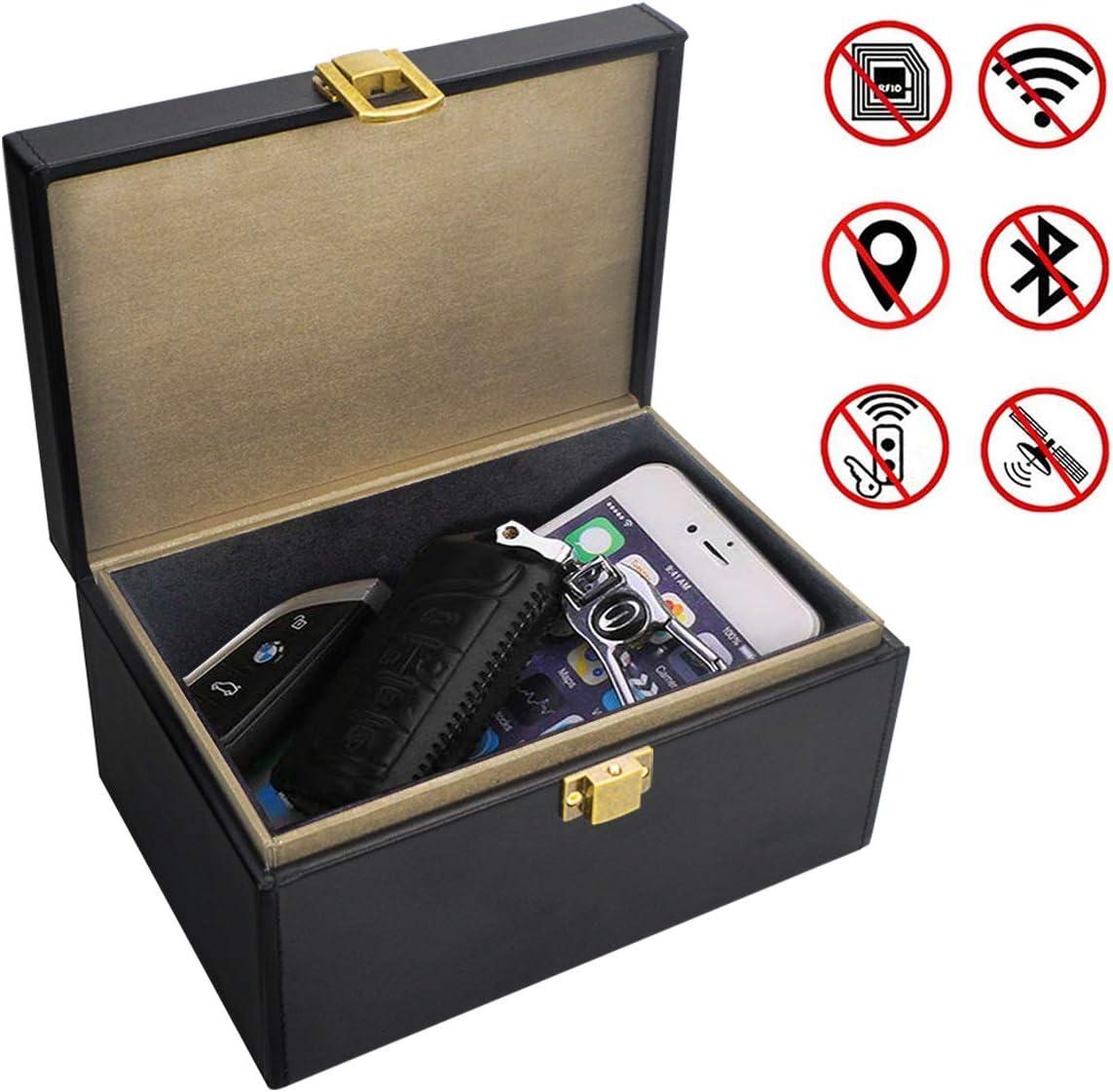 Qcore Faraday Caja para llaves de coche, caja de bloqueo de señal de llave de coche grande, jaula de piel antirrobo para Faraday, bolsa sin llave RFID para llaves de coche, caja