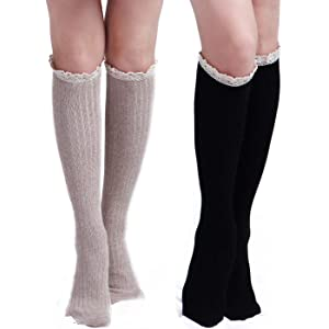 6bb633a6dd26 Roniky 5 Pack Women Cotton Crochet Boot Socks with Lace Trim Knit ...