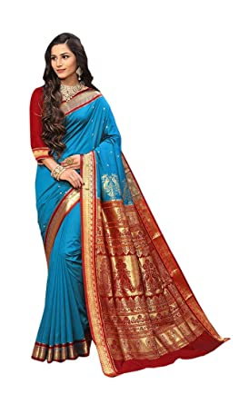 4f6e864326862d Craftsvilla Women s Silk Blend Zari Work Traditional Blue Saree with unstitched  Blouse piece
