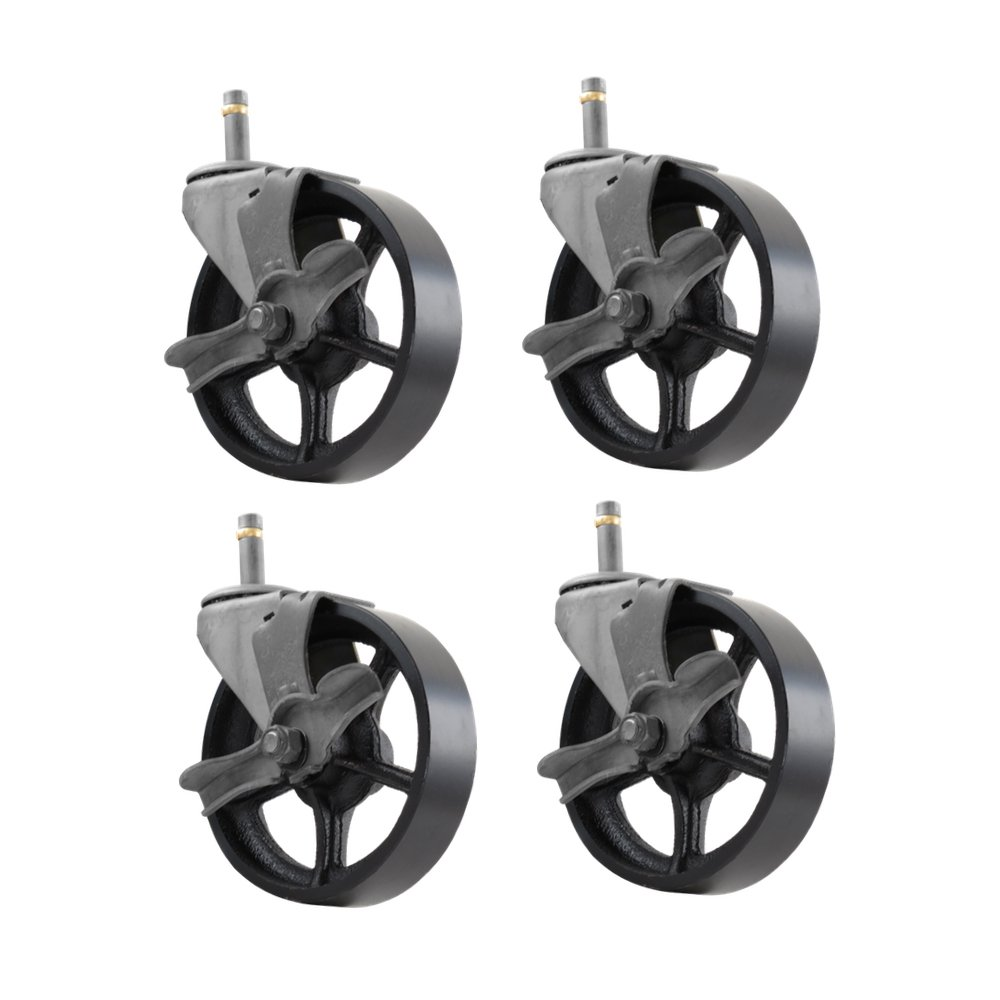 4 Pack - 5'' CC Vintage Swivel Caster with Wheel Brake - Grip Stem Mount - Black Cast Iron Wheel