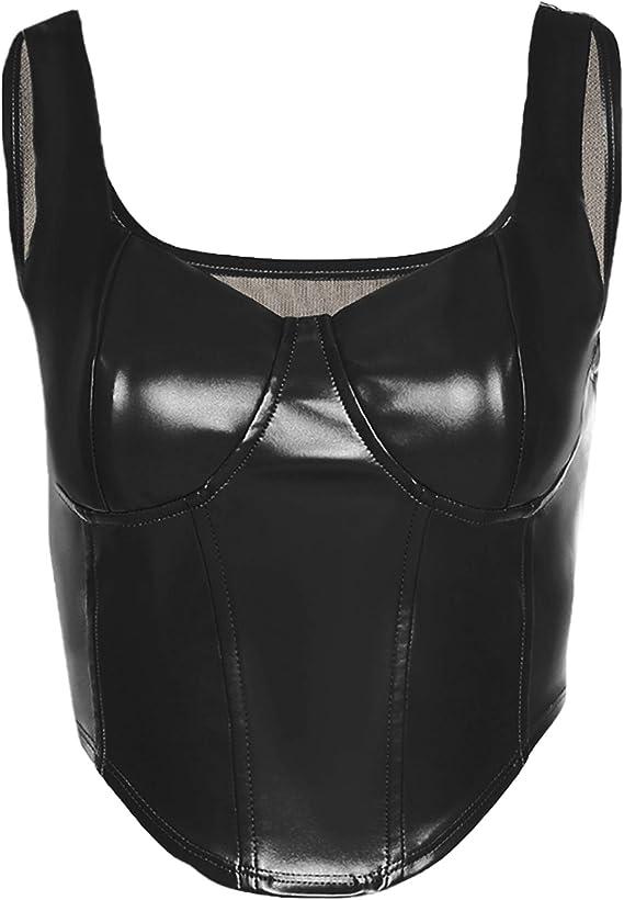 Women/'s Spaghetti Straps PU Leather Bustier Corset Crop Top Bra Vest Clubwear
