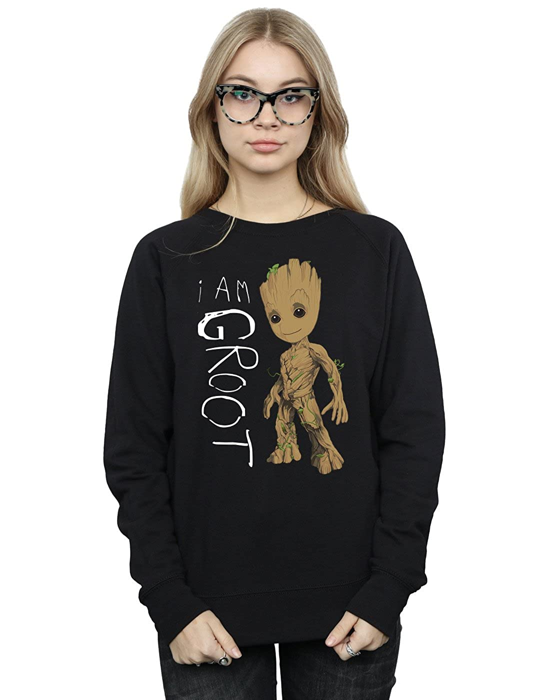 Marvel Mujer Guardians of The Galaxy I Am Groot Scribbles Camisa De Entrenamiento Negro Large