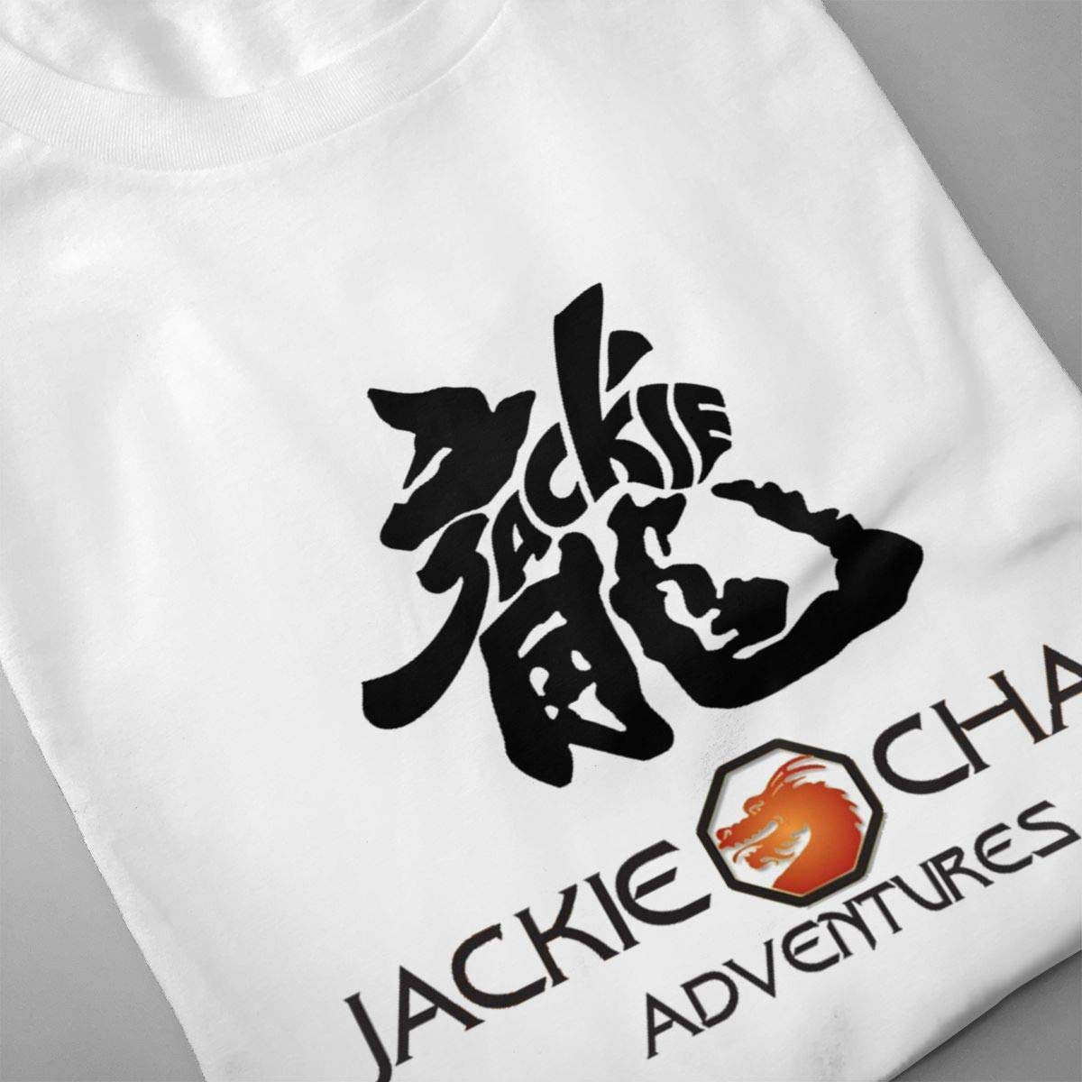 Smooffly Mens Jackie Chan Logo Crew Neck Cotton Short Sleeves T-Shirts