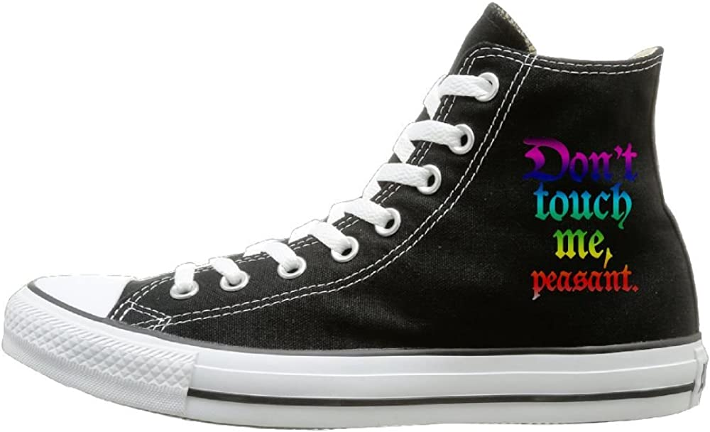 Shenigon Dont Touch Me Peasant Canvas Shoes High Top Casual Black Sneakers Unisex Style