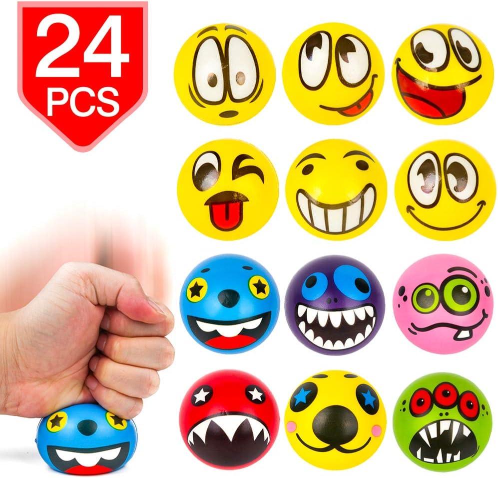 PROLOSO Emoji Stress Balls Squeeze Fidget Toys Stress Relief Party Favors Random Patterns 24 Pcs