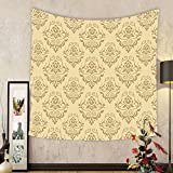 Gzhihine Custom tapestry Beige Decor Tapestry Regular Damask Patterns Islamic Antique Lace Floral Patterns Oriental Style Decorative Art Bedroom Living Room Dorm Decor Beige