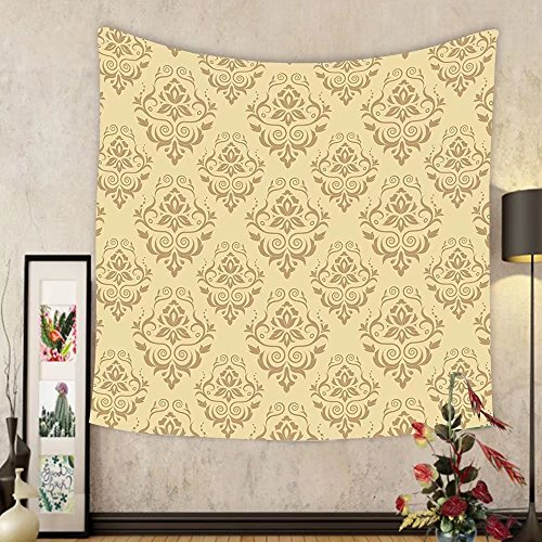 Gzhihine Custom tapestry Beige Decor Tapestry Regular Damask Patterns Islamic Antique Lace Floral Patterns Oriental Style Decorative Art Bedroom Living Room Dorm Decor Beige by Gzhihine