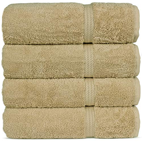 Superior Long-Stable Turkish Cotton 4-Piece Bath Towels, Eco-Friendly, (Driftwood)
