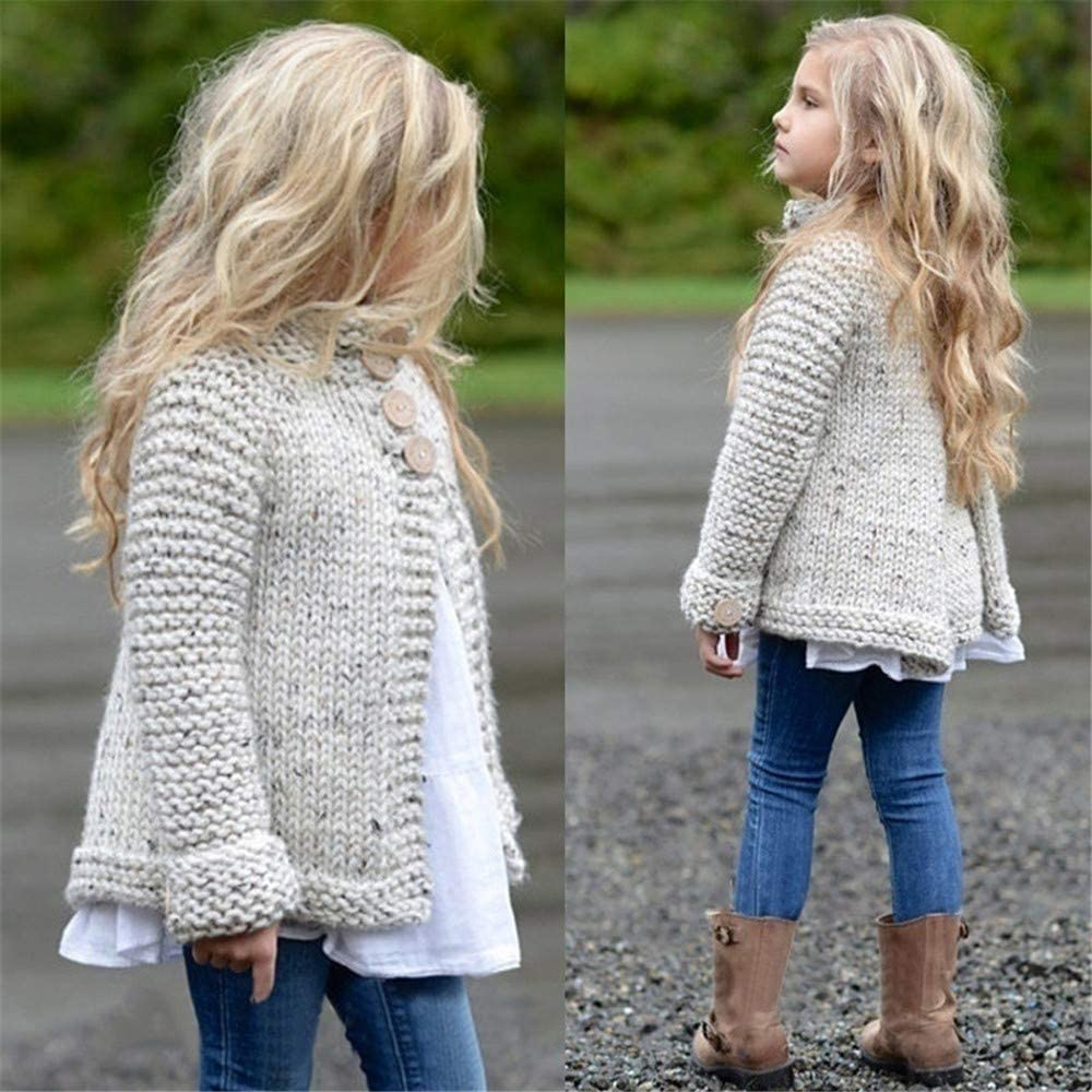 zhoufengbb Toddler Baby Girls Cute Autumn Winter Button Knitted Sweater Cardigan Warm Thick Coat Outerwear Clothes