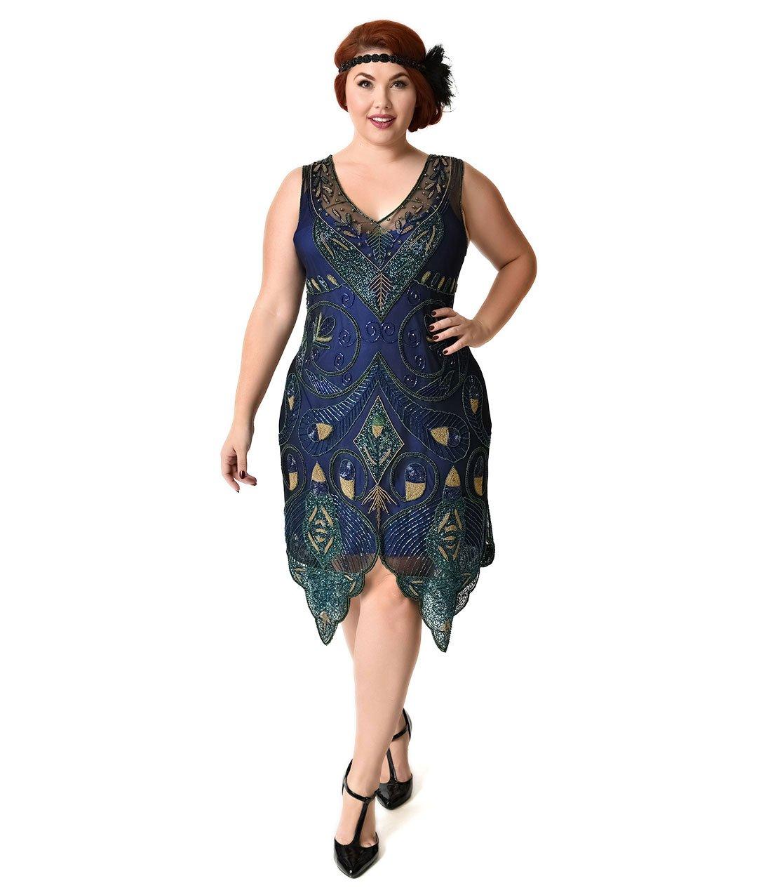 Unique Vintage 1920s Style Plus Size Navy Blue & Green Beaded Emma Flapper Dress