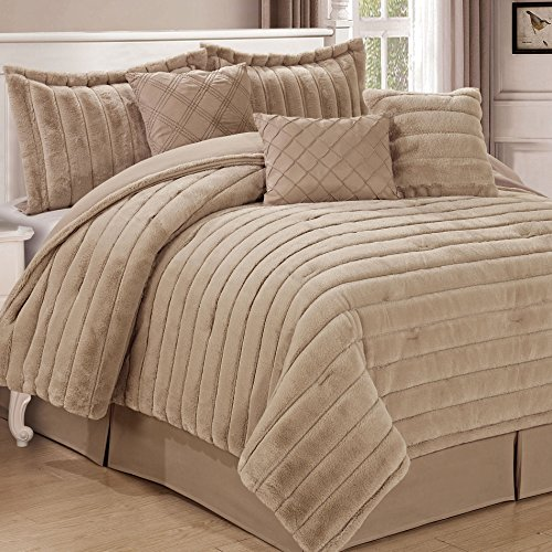 Home Soft Things Serenta Rabbit Faux Fur 7 Piece Comforter Sets, King, Oatmeal