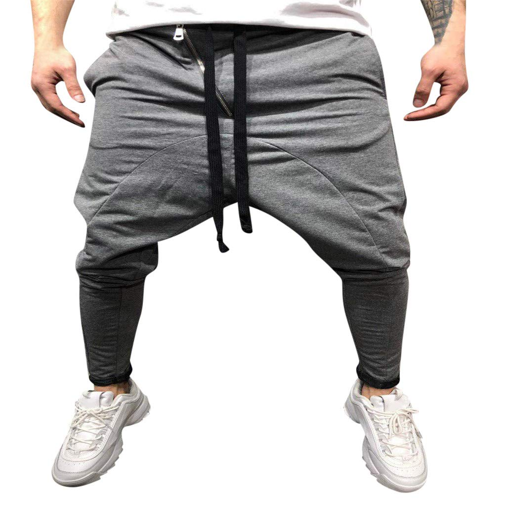 Men Casual Pants Jogger Skinny Slim Fit Gym Wear Trousers Slim Fit Harem Sweatpants with Drawstring (XXL, Blue)