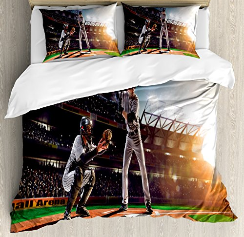 Ambesonne Teen Room Duvet Cover Set, Professional Baseball Players in The Stadium Playing The Game Pich Sports Print, 3 Piece Bedding Set with Pillow Shams, Queen/Full, Multicolor -
