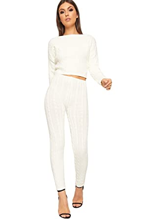 75d202808cb Women's Cable Knitted Long Sleeve Crop Top Leggings Loungewear Set Ladies  Co-Ord - Cream