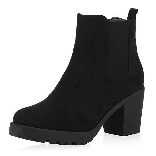 SCARPE VITA Damen Stiefeletten Blockabsatz Chelsea Boots Profilsohle 164144 Schwarz Velours 39