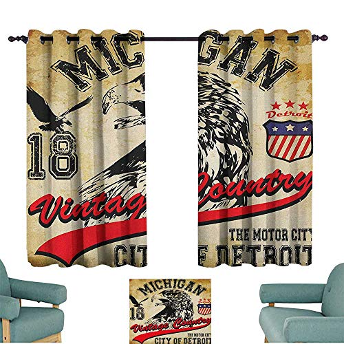 Sanring Eagle,Nursery/Baby Care Curtains Hand Drawn City of Detroit Michigan Digital Art with a Portrait of an Eagle 42