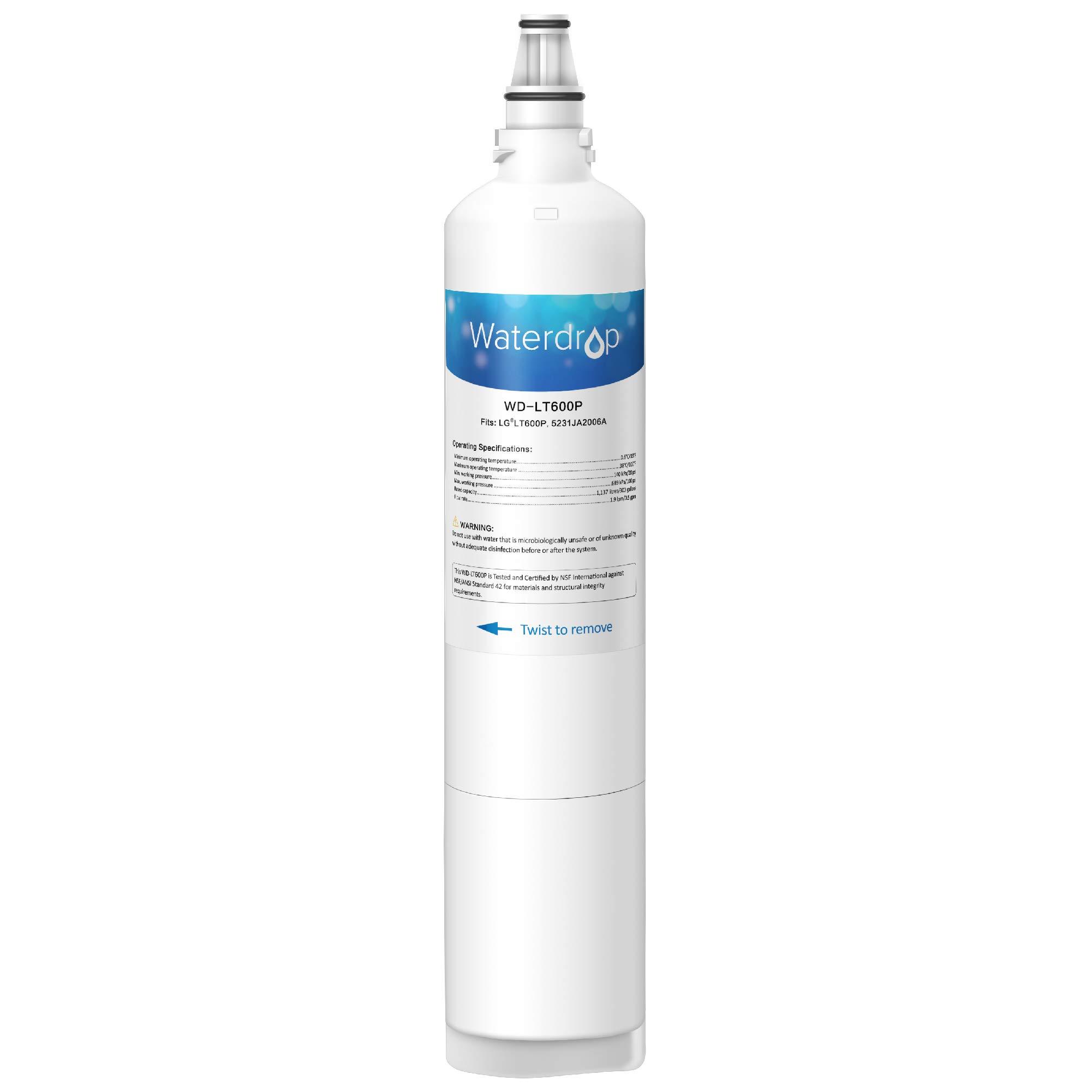 Waterdrop LT600P Replacemnet Refrigerator Water Filter, Compatible with LG LT600P, 5231JA2006A, 5231JA2006B, KENMORE 46-9990, 9990, 469990, Standard Series