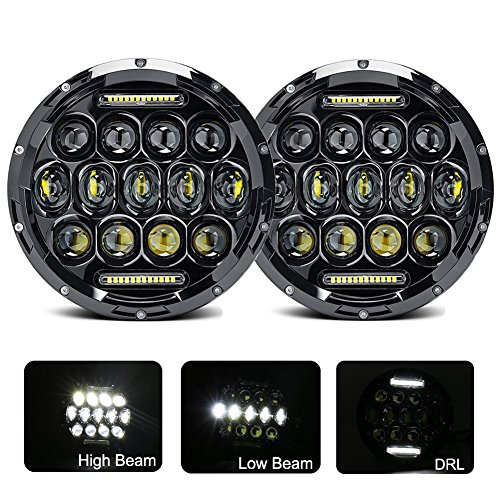 [Ohmotor 2 PCS 75W Jeep Wrangler LED Headlight 7 Inch Round LED Headlamp Bulb with Hi/Lo Beam DRL Cree Led Headlights for Jeep Wrangler JK TJ CJ 1997-2017 Cruiser Hummer H1 H2 Harley Davidson Black] (Hummer H1)