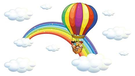Adesivo murale camera per bambini arcobaleno con mongolfiera e