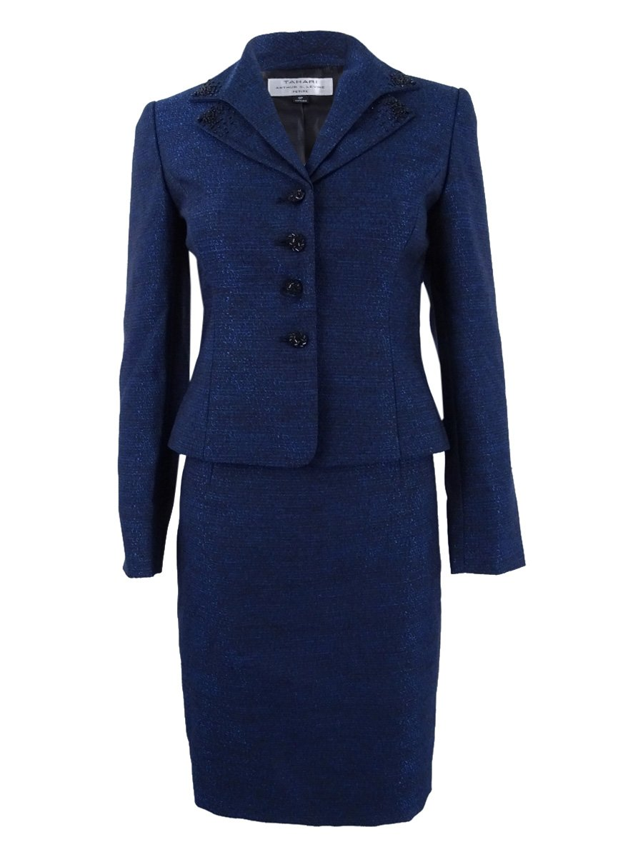 Tahari ASL Women's Layered-Collar Shimmer Skirt Suit (2, Navy/Black)