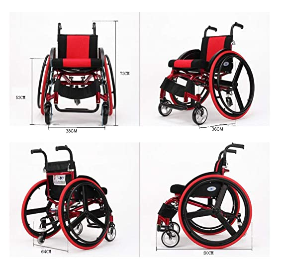 DPPAN Athletic Drive Medical Transport Silla de ruedas Aleación de aluminio liviano plegable, fuerte y resistente Altos reposapiés,red_15