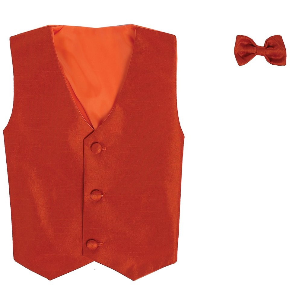 Lito Big Boys Orange Poly Silk Vest Bowtie Special Occasion Set 8-14