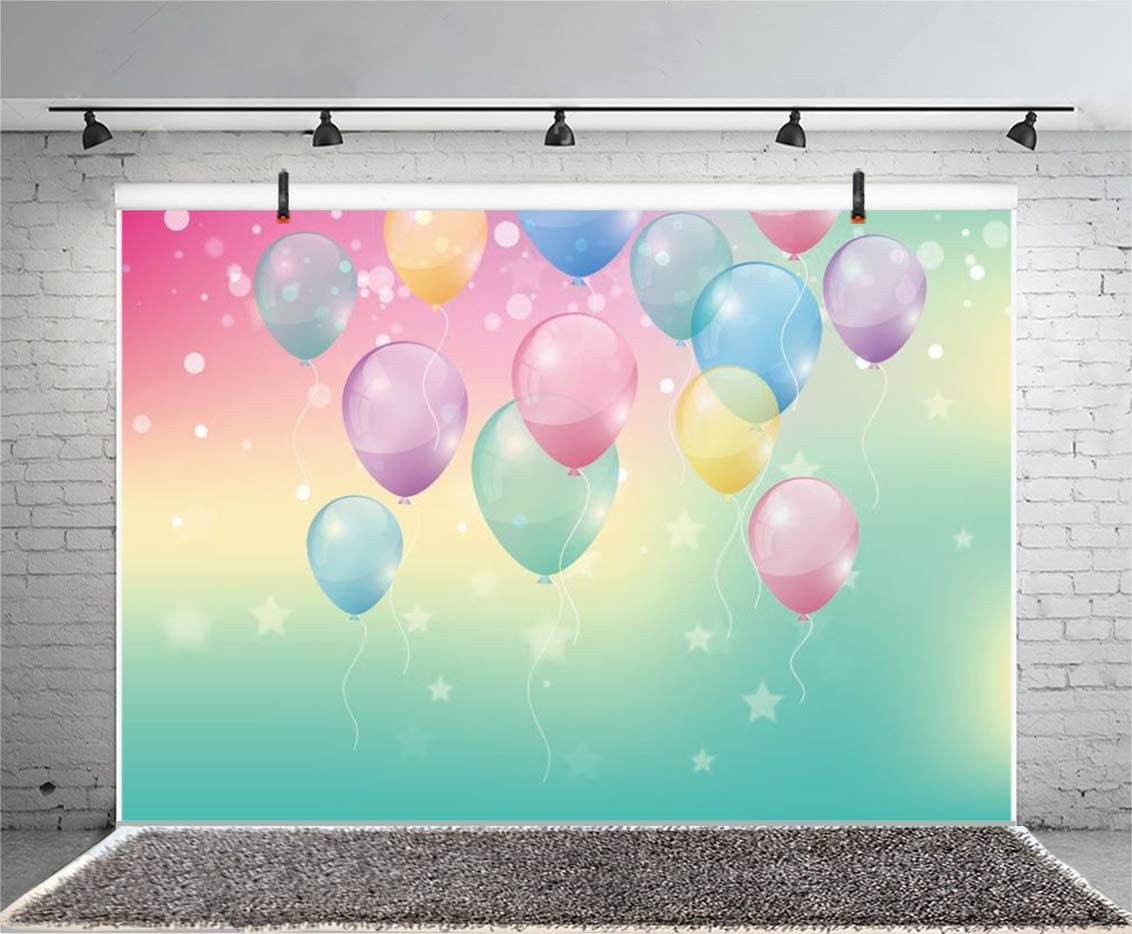YEELE First Birthday Backdrop 10x8ft Dreamy Balloons Flying One Birthday Party Photography Background 1st Baby Bday Party Decoration Cake Table Photo Booth Props Digital Wallpaper
