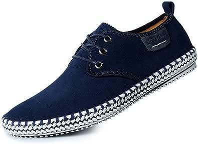 LIEBE721 Zapatos de Cordones Casuales de Gamuza de los Hombres Luz Salvaje Antideslizante Clásico Duradero Elegante Maduro Cómodo Moda Zapatos de Gran tamaño