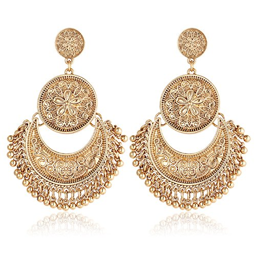 [Gmai Gmai Classic Ethnic Brocade Engraved Lotus Brocade Lotus Mexico Gypsy Hook Dangle Earrings For Women Girls (Gold)] (Gold Dangle Earrings)