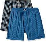 Hanes Men's Checkered Cotton Boxer Shorts (Pack of 2)(P108_Black_Blue Checks_M)