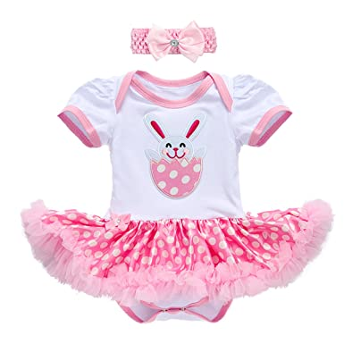 250e42a67 Newborn Infant Toddler Baby Girl First 1st Easter Outfits Set Colorful Eggs  Bunny Rabbit Printed Romper Tutu Dress Headband Leggings Leg Warmers Shoes  ...