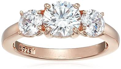 cdbc34bd8 La Lumiere Rose Gold-Plated Sterling Silver Swarovski Zirconia 4 cttw Round  3 Stone Ring: Amazon.co.uk: Jewellery