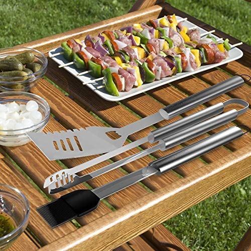 Home-Complete BBQ Grill Tool Set- 16 Piece Stainless Steel Barbecue Grilling Accessories with Aluminum Case, Spatula, Tongs, Skewers 61ivf 2BRMmnL