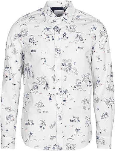 Desigual Ezra Hommes - Camisa de manga larga, color blanco: Amazon.es: Ropa y accesorios