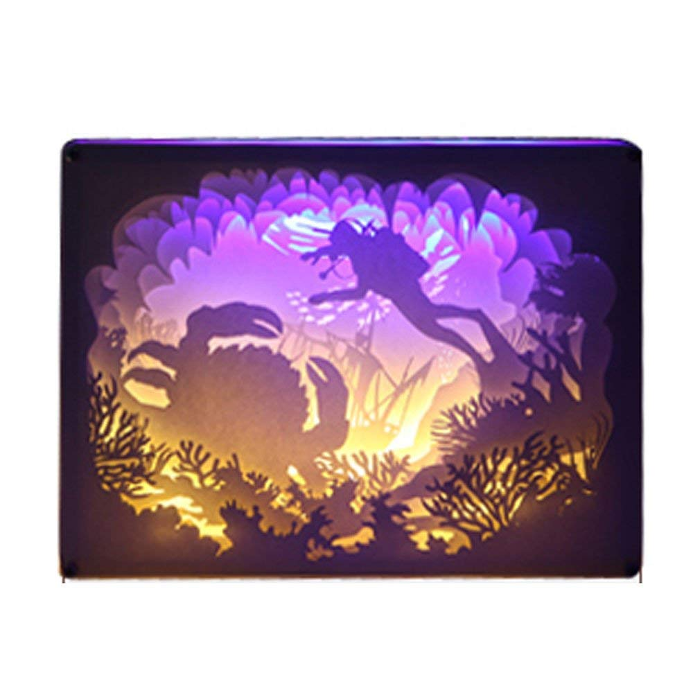 CDL LED Illusion Night Light, Papercut Lights Boxes,Bedroom Desk Lamp,3D Lighting and Shadow Paper Carving Art and Crafts, Gift (Color : Style C)