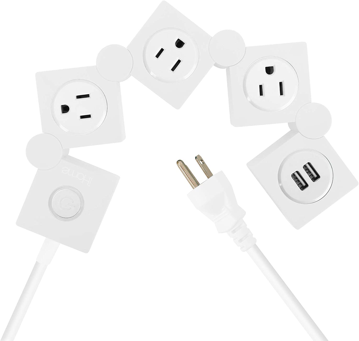 iHome Multi-Charge Swivel Power Strip with Three Outlets and Two USB Ports, 1200-Joule Surge Protection, White