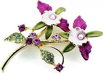 553dd1c38d0 Pearl Multicolor Orchid Swarovski Crystal Flower Pin Brooch