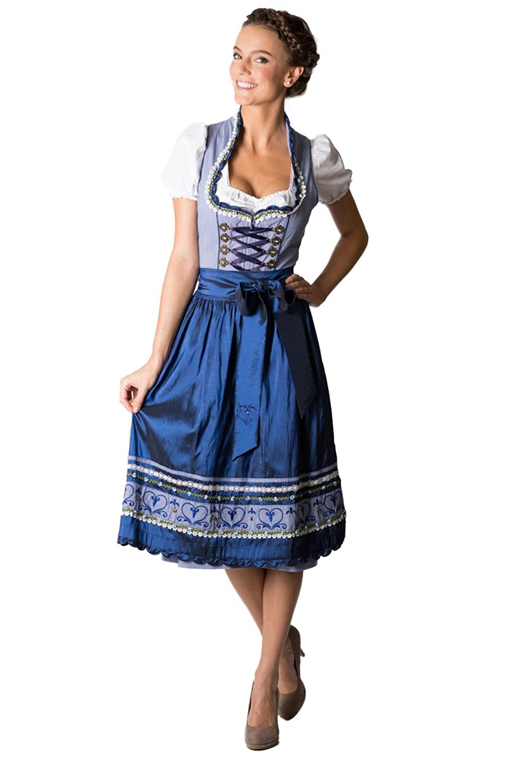 kr ger damen midi dirndl andrea blau d010202 g nstig online kaufen. Black Bedroom Furniture Sets. Home Design Ideas