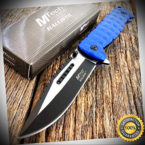 BLUE SAWBACK BOWIE Assisted Folding Pocket Knife Military Heavy Duty - Outdoor For Camping Hunting Cosplay ()