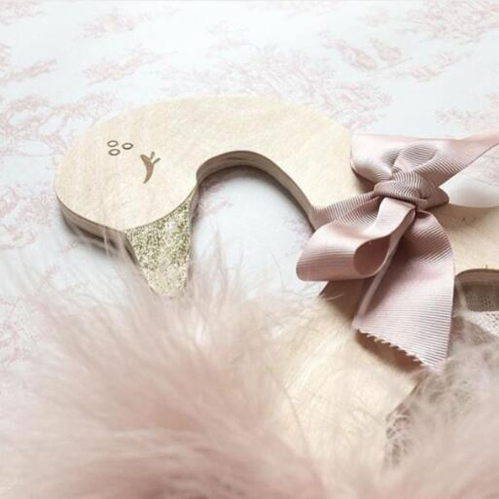 Dovewill Pack of 5pcs Cute Glitter Swan Wooden Clothes Hook Hanger for Baby Kids Room Decoration