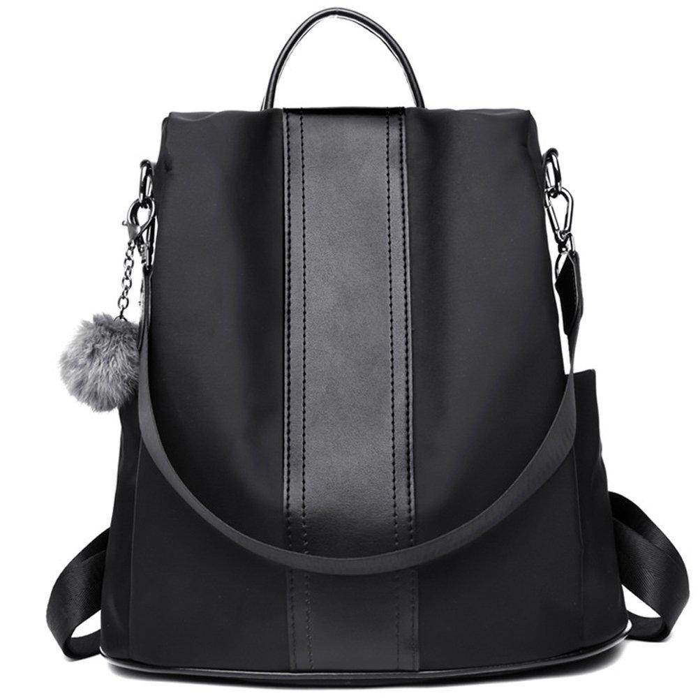 Backpack for Women Purse Nylon Rucksack Lightweight Casual Backpacks Daypack Shoulder Bags (Black)